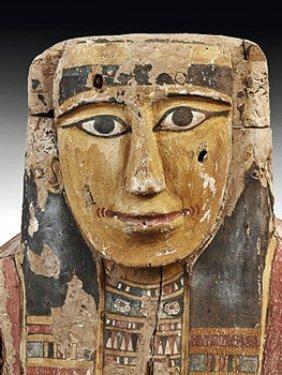 An Egyptian Wood / Polychrome Upper Sarcophagus