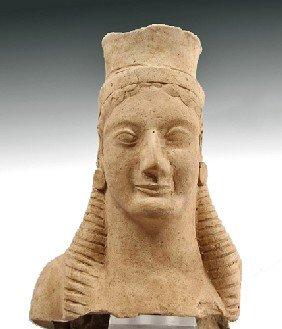 A Large Greek Terracotta Female Bust