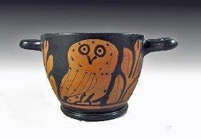 A Lucanian Red-Figured Owl Skyphos