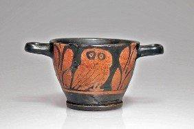 A South Italian Red-Figure Owl Skyphos