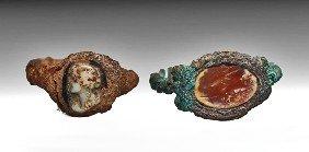 Two Roman Bronze Intaglio Rings