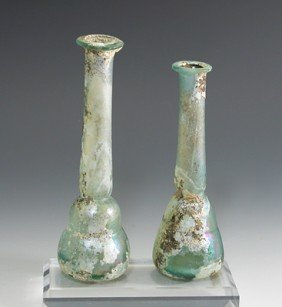 A Pair Of Roman Glass Tall Unguents / Bottles