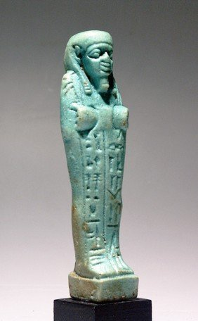 An Egyptian Green-Glazed Shabti