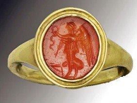 A Roman Carnelian Stone Gold Ring, Ex-Christie's