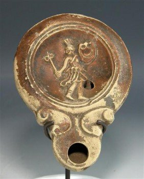 Extremely Rare Roman Oil Lamp W/ Female Gladiator