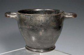 A Campanian Black Glazed Pottery Skyphos
