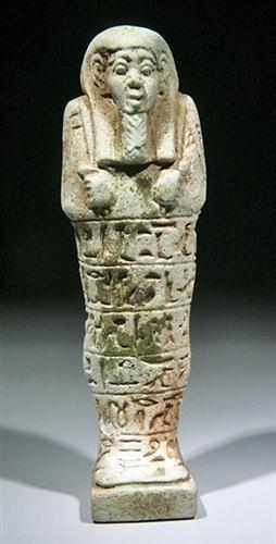 An Egyptian Glazed Composite Shabti For Sa-Aset