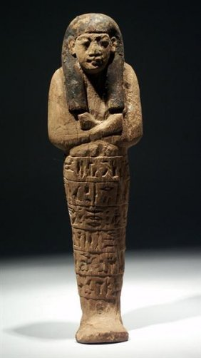 A Large Egyptian New Kingdom Wood Shabti For Aset