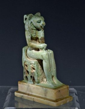 An Egyptian Faience Amulet Of Sekhmet