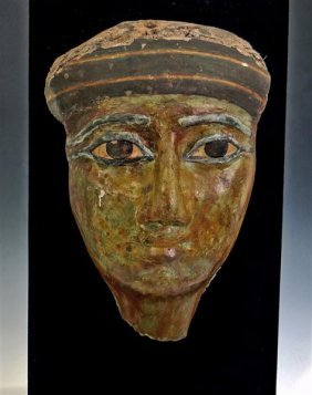 An Egyptian Cartonnage Anthropoid Mummy Mask