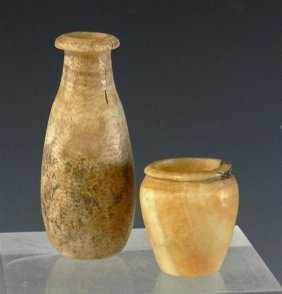 A Pair Of Egyptian Alabaster Jars (Near Miniature)