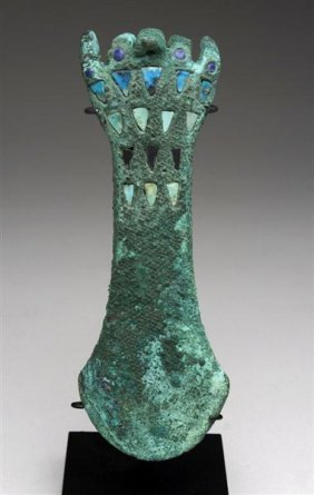 A Moche Copper Tumi In Hand Form, Inlaid Turquoise