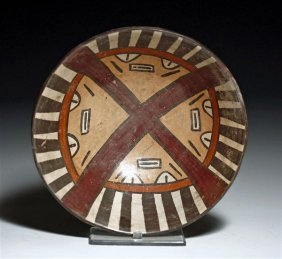 A Nazca Polychrome Face Bowl