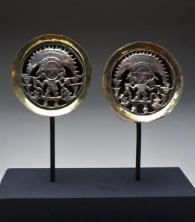 A Pair Of Sican Royal Gold Ear Spools