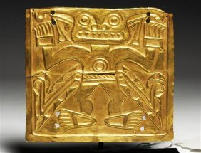 A Pre-Columbian Cocle Gold Plaque Zoomorphic Deity