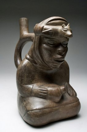 A Moche III Sitting Lord Stirrup Vessel