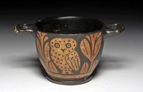 A Greek Apulian Owl Skyphos