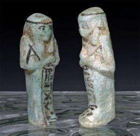 A Pair Egyptian Blue Faience Inscribed Ushabtis