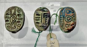 A Grouping Of Three Egyptian Scarabs