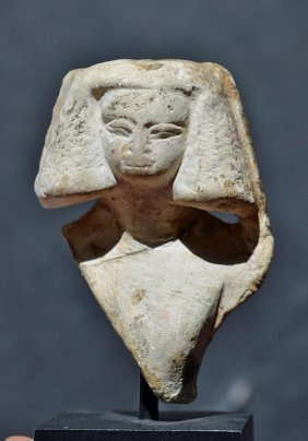 Egyptian Limestone Bust Of A Young Girl