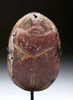 Lg Egyptian Red Faience Pectoral Scarab