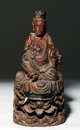 Chinese Ming Dynasty Lacquered Wood Kuan Yin