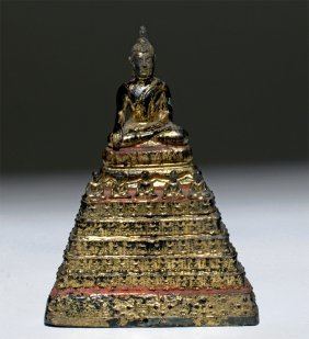 19th C. Thai Seated Gilded Bronze Buddha W/ Monks
