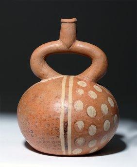 Moche I Polychrome Terracotta Stirrup Vessel
