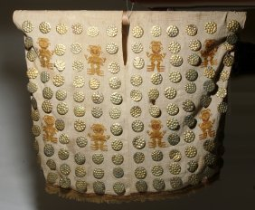 Pre-columbian Embroidered Textile Poncho W/ Gold Discs