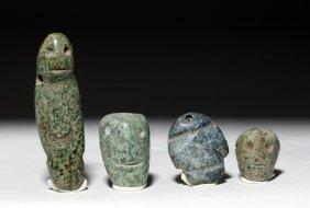 Lot Of 4 Mezcala Stone Beads
