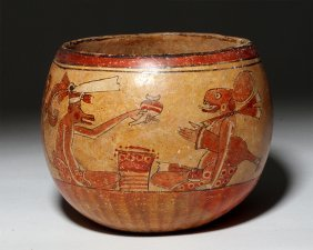 Mayan Large Bowl Decorated With Animal Scene