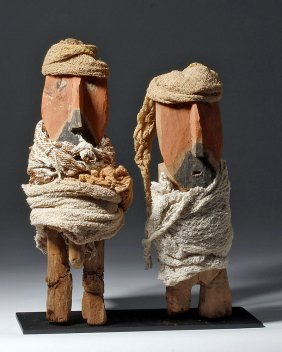 Chancay /huacho Painted Wood Figures - Male, Female