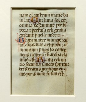 15th C. Medieval 2-sided Book Of Hours Leaf