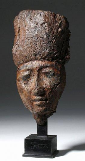 Egyptian Ptolemaic Wood Sarcophagus Mask