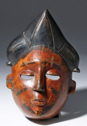 African Ibibio Painted Wood Mask Of A Woman