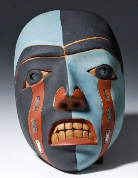 20th C. Nw Coast Wood Painted Wood Face Mask