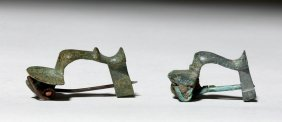 Pair Of Roman Bronze Knee Fibulae