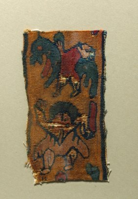 Ancient Coptic Textile Panel - Horse And Figure