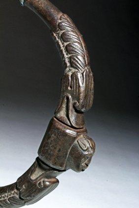 17th C. Spanish Iron Door Handle, Human / Swan Heads