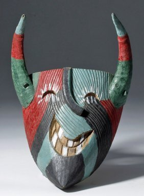 Colorful Carved Wood Mexican Mask - Wood Horns
