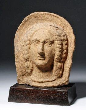 Fine Etruscan Terracotta Votive - Female Head