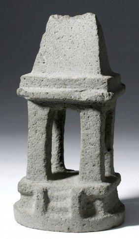 Mezcala Guerrero 4-column Basalt Stone Temple