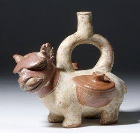 Fine Moche Stirrup Vessel - Angry Llama, Burden Sacks