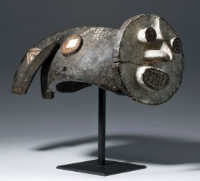 Important 20th C. Cameroon Mambila Helmet Mask