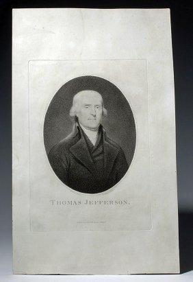Ca. 1802 Stipple Engraving Of Thomas Jefferson