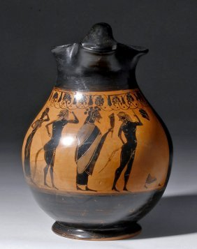 Superb Greek Attic Black Figure Oinochoe - Ex-bonham's