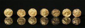 Rare Set Of 7 Greek Gold Buttons Of Alexander The Great