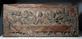 19th C. European Carved Wood Relief Panel - Last Supper