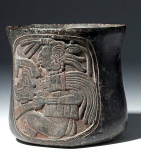 Important Carved Mayan Blackware Cylinder