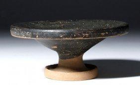 Greek Campanian Pottery Blackware Footed Plate